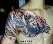 男性传统半甲纹身关公龙素材纹身