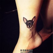 女生脚踝纹身自己狗狗纹身