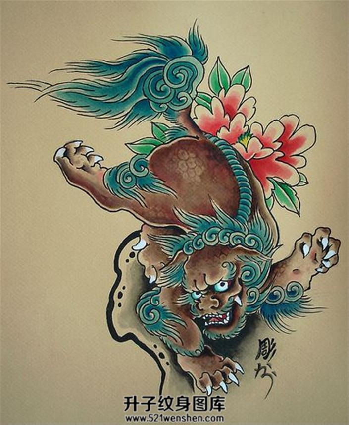 彩色传统唐狮牡丹纹身手稿