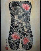 日式传统满背纹身手稿唐狮子牡丹素材纹身手稿