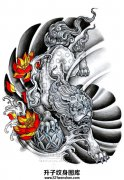 一张传统唐狮子纹身手稿