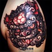 很漂亮很有味道的唐狮子纹身