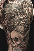 暗黑的唐狮子骷髅纹身