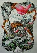 传统风格满背唐狮子纹身手稿