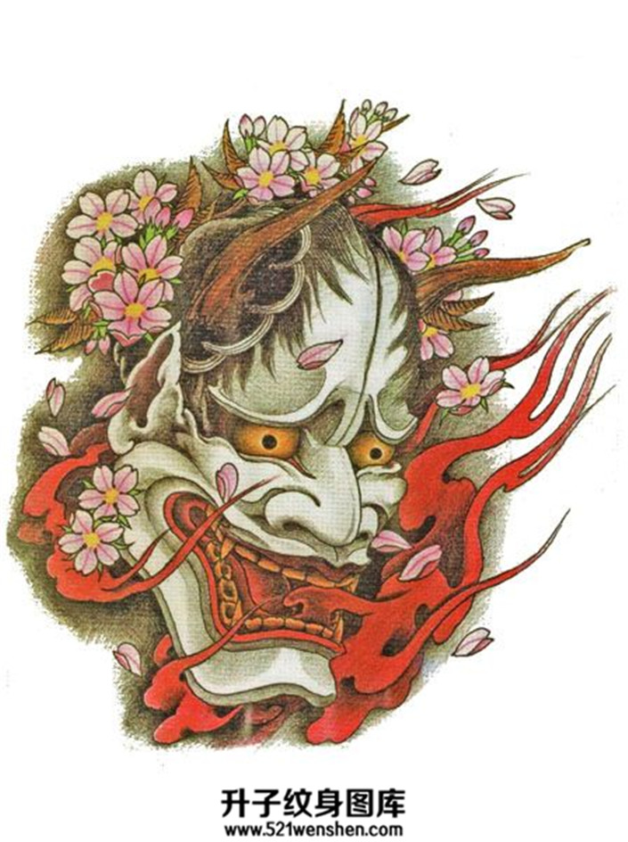 传统火焰般若樱花纹身手稿