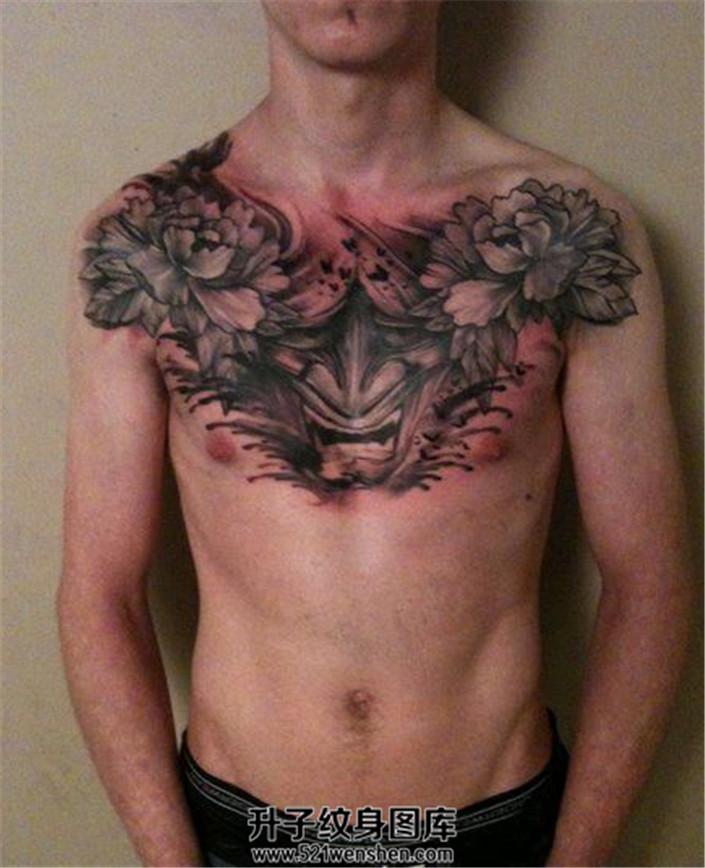 男性牡丹般若花胸纹身