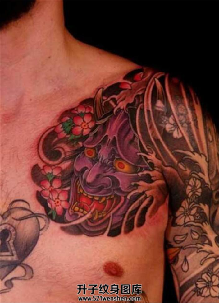 男性传统半甲纹身胸口般若素材纹身