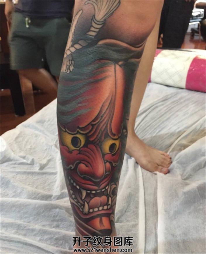 男性小腿般若纹身图案大全