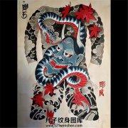 日式传统满背般若纹身手稿