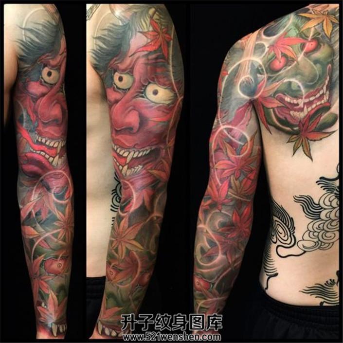 彩色传统花臂纹身般若枫叶题材花臂