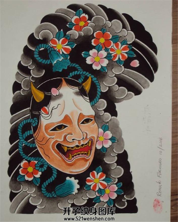 日式传统纹身手稿半甲般若素材纹身手稿