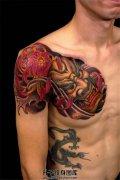 男性胸口传统纹身般若菊花纹身