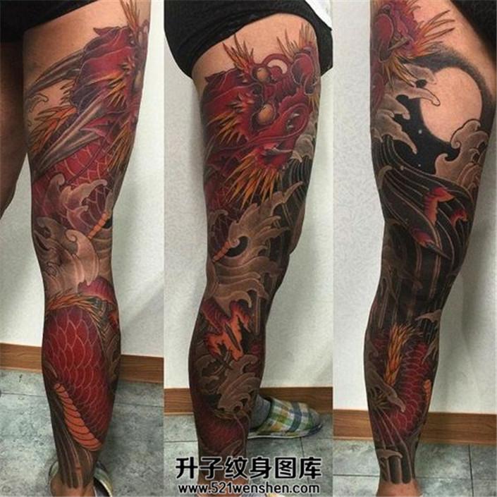 男性花腿纹身龙纹身