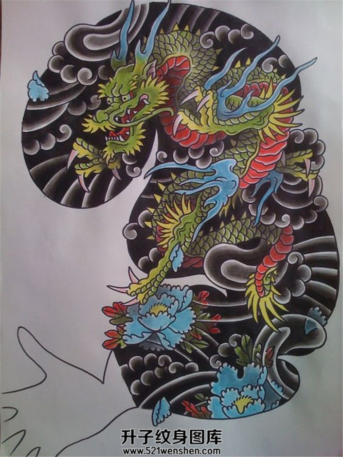 全花臂接胸口的一个龙纹身手稿