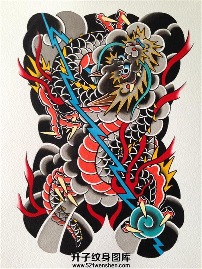 纹身手稿大全满背传统龙纹身手稿