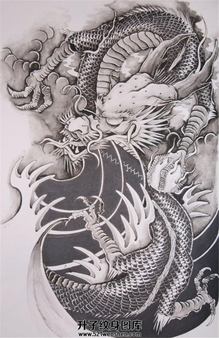 传统龙纹身手稿大全【升子纹身520】