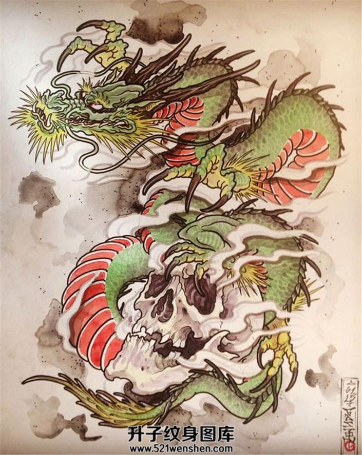 龙爪骷髅纹身手稿