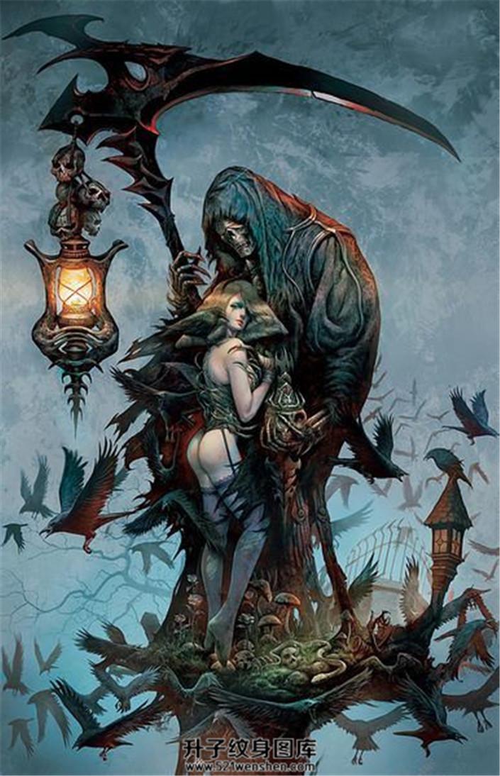 死神与性感女郎的画稿