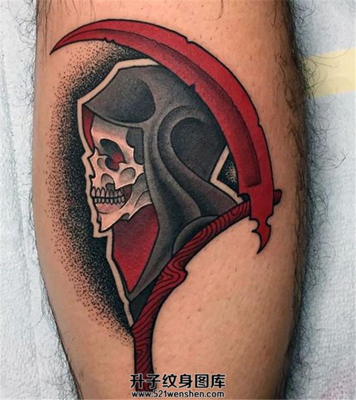 男性小臂死神纹身点刺背景死神纹身