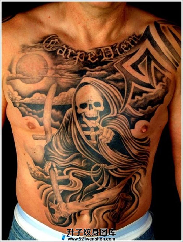 男性前胸腹部死神纹身