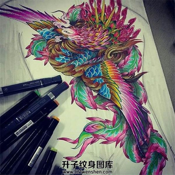 漂亮的凤凰纹身手稿