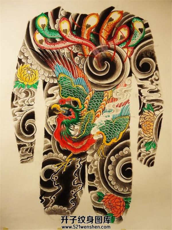 传统满背凤凰纹身手稿大全