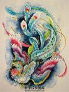 彩凤纹身手稿