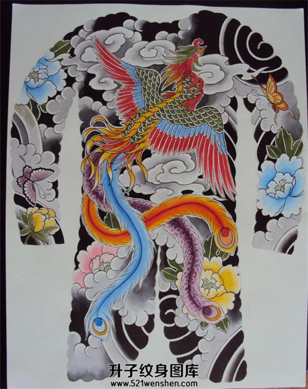 传统满背凤凰纹身手稿