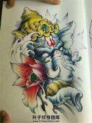 传统象神莲花纹身手稿