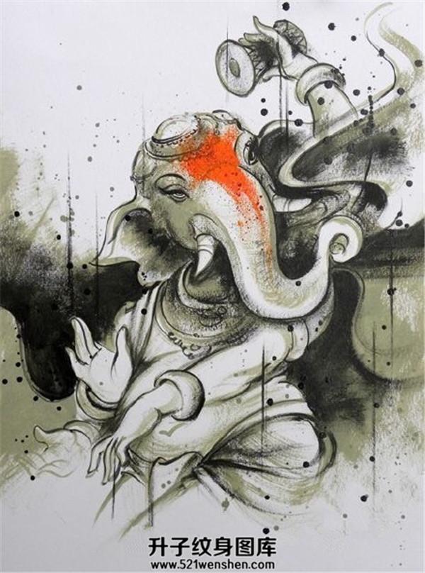 泼墨象神纹身手稿