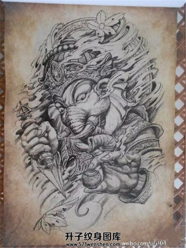传统象神纹身手稿大全