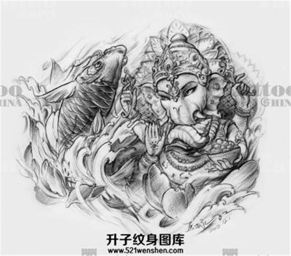 传统象神鲤鱼纹身手稿