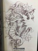 传统象神纹身手稿