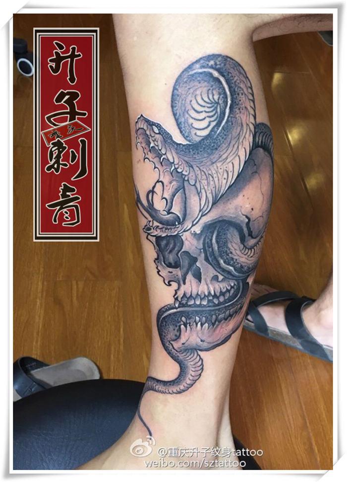 重庆纹身 小腿纹身【骷髅与蛇纹身】 观音桥升子