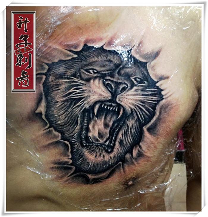 重庆纹身 胸口纹身 胸口纹身价格 虎头纹身 观音桥纹身升子作品