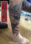 重庆纹身 重庆纹身价格 耶稣花腿纹身图片