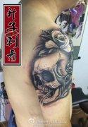 重庆纹身 观音桥最好纹身店 手臂骷髅玫瑰纹身
