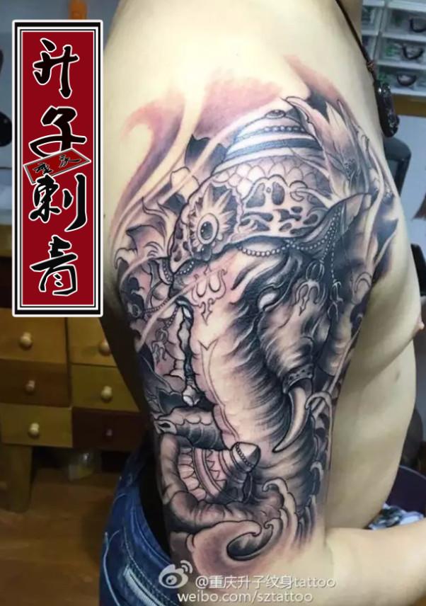重庆纹身 重庆纹身哪里好 大臂纹身 象神纹身