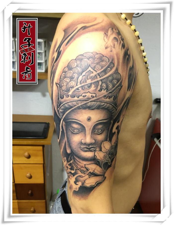 重庆纹身 大臂文殊菩萨纹身图案 重庆纹身价格