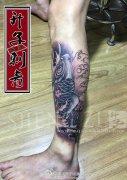 重庆纹身 小腿外侧传统鲤鱼纹身图案 鲤鱼纹身价