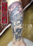 重庆纹身 重庆小腿纹身 传统象神纹身图案 象神