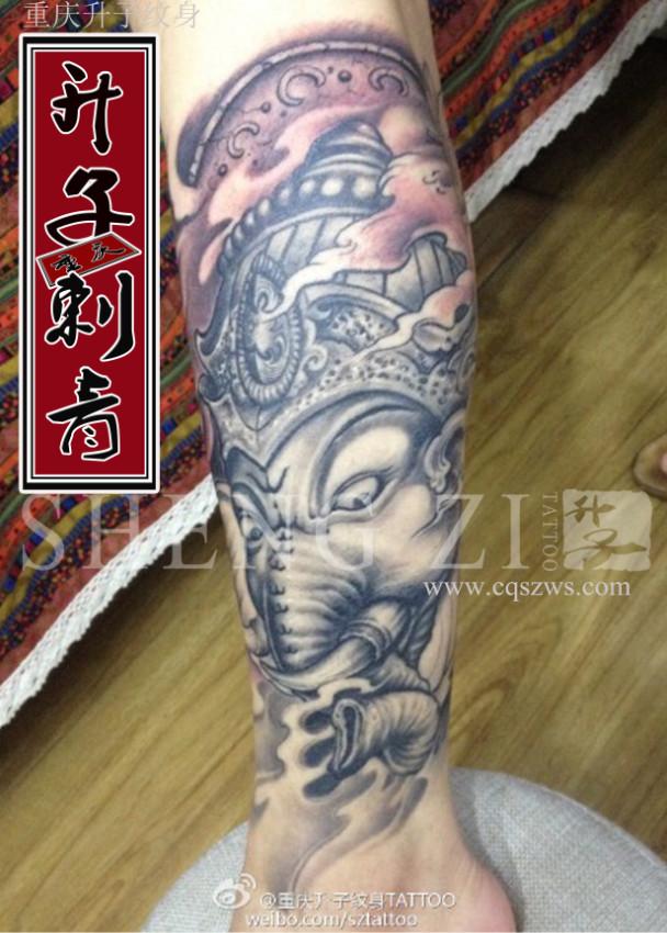 重庆纹身 重庆小腿纹身 传统象神纹身图案 象神纹身价格