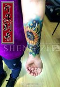 重庆纹身 小臂写实向日葵纹身 遮盖纹身 纹身价