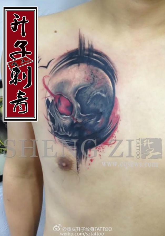 重庆纹身 胸口纹身 遮盖失败纹身 胸口骷髅纹身 纹身价格