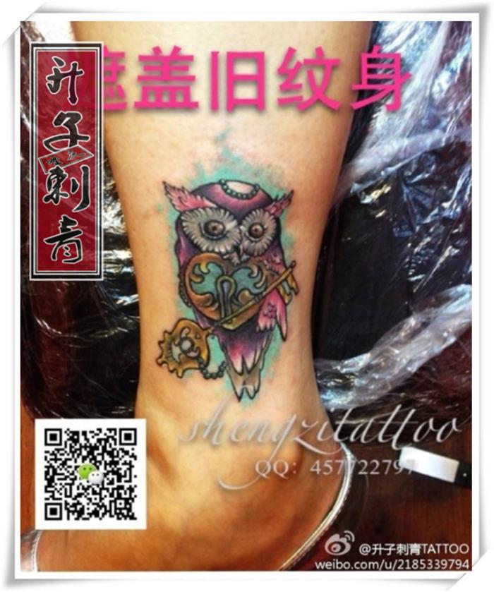 脚踝纹身 遮盖失败纹身 脚踝猫头鹰纹身图案_纹身图片大全