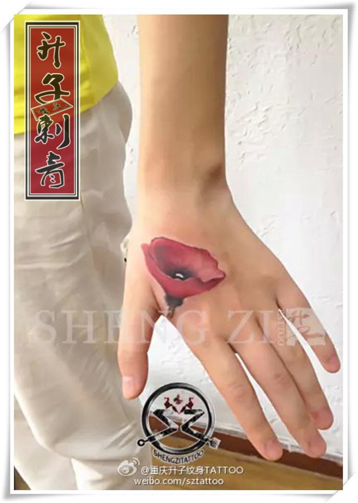 手背彩色罂粟花纹身图案大全 植物纹身图片