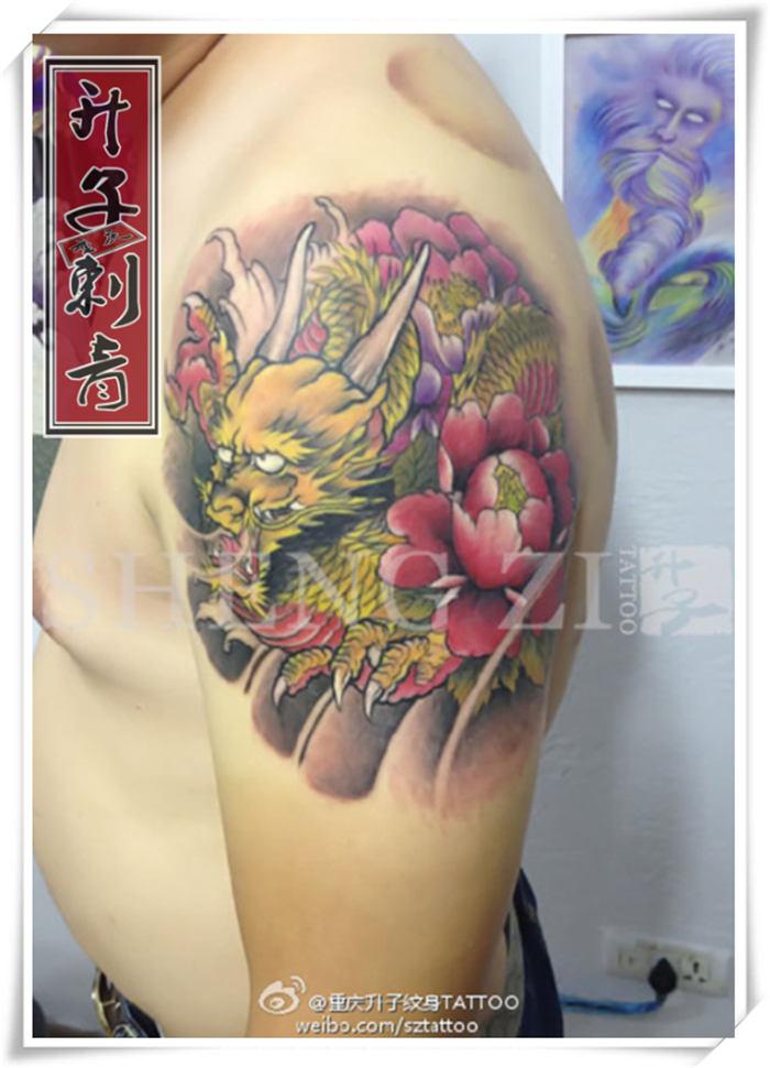 大臂传统彩色龙纹身图案大全 龙纹身的讲究