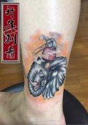 脚踝纹身 象神纹身图案 ___重庆遮盖失败纹身