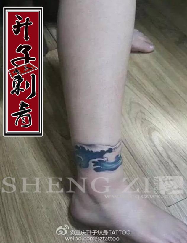 脚踝纹身 水浪纹身图案 女性纹身图片