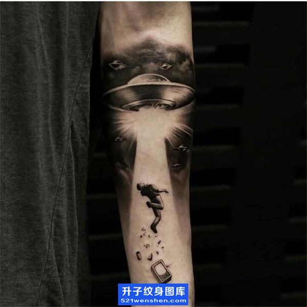 手臂纹身 ufo纹身图片 飞碟纹身图案
